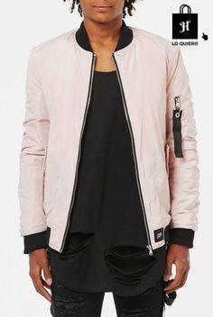 Cazadoras para hombre modelo bomber rosa boohoo #Bomber #Moda #ModaHombre #Hombre #Tendencias