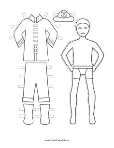 This Free Printable Fireman Paper Doll Includes His Protective Uniform Helmet And Badge For You To Color Download Print