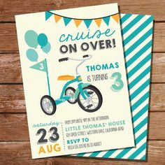 Vintage Tricycle Party Invitation For Boys Dirt Bike Party, Race Car Party, Airplane Party, Skate Party, Train Party, Lumberjack Party, Cowboy Party, Bicycle Birthday Parties, Girl Superhero Party