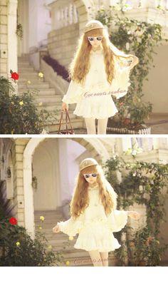 Varme og romantiske europeisk stil Liten Kappen etterslep AV lotus blad blondere lolita modellør beige strikkegenser cape - Taobao