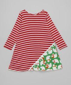 Look what I found on #zulily! Green & Red Polar Bear Tunic Dress - Infant, Toddler & Girls #zulilyfinds