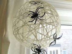 Preschool Crafts for Kids*: Halloween Orb Spider Web Craft I've actually done this for christmas snowballs...this is getting done again.