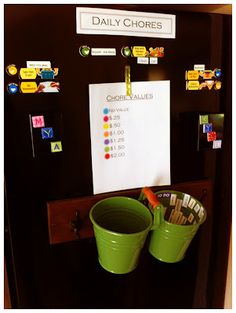 Kids Chore Chart- chores have various values.  good for when a little older    http://chuckandlibby.blogspot.ca/2012/04/kids-chore-chart.html