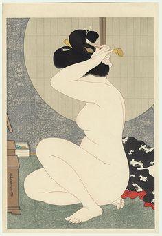 Arranging Hair   by Hirano Hakuho, 1932