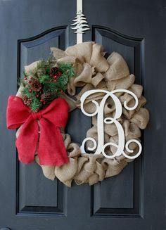 Christmas Wreath - Burlap Wreath - Etsy Wreath - Fall Wreaths for door - Wreaths for door  - Door Wreath - Monogram wreath - Door Wreaths