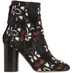 Isabel Marant Women 90mm Guya Embroidered Suede Ankle Boots ($650) ❤ liked on Polyvore featuring shoes, boots, ankle booties, black, high heel booties, high heel ankle boots, suede ankle booties, black booties and suede booties