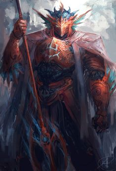Poseidon by JasonTN dragonborn armor platemail spear trident | Create your own roleplaying game books w/ RPG Bard: www.rpgbard.com | Dungeons and Dragons Pathfinder RPG Warhammer 40k Fantasy Star Wars Exalted World of Darkness Dragon Age 13th Age Iron Kingdoms Fate Core Savage Worlds Shadowrun Call of Cthulhu Basic Role Playing Traveller Battletech The One Ring d20 Modern DND ADND PFRPG W40K WFRP COC BRP DCC TOR VTM GURPS science fiction sci-fi horror art creature monster character design