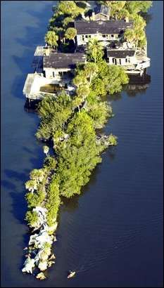Aerial View Of The Dragon Point Mansion At Southern Tip Merritt Island Florida