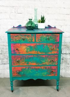 Whimsical Painted Furniture, Hand Painted Furniture, Funky Furniture, Refurbished Furniture, Art Furniture, Repurposed Furniture, Furniture Projects, Chalk Painted Dressers, Furniture Makeover