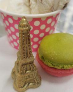 Desert time! Gelato, macaron, and golden cholocate tower. ♡ #desert #gelato #macaron #golden #chocolate #paris #bemaifoodie