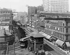 elevated train images   PHOTO - CHICAGO - ELEVATED TRAINS - WABASH AVE - NOTE ORGAN SIGN PLUS ...