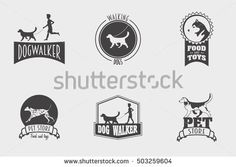 Set of vector pet shop or store, dog walker logos, badges and labels design templates.