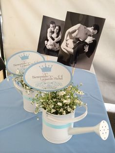 Boy Baby Shower Blue Vintage Party Ideas - DIY centro de mesa centerpiece
