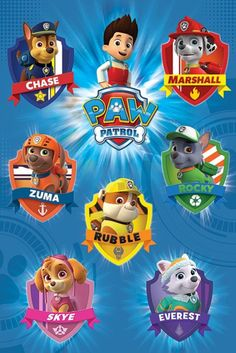 Paw Patrol Crests - Official Poster. Official Merchandise. Size: 61cm x 91.5cm. FREE SHIPPING