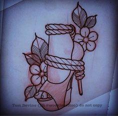 Shibari. Rope play. High heels. Shoes. Neo traditional. Girl tattoo. Tattoo for girls. Flower. Flower tattoo. Sexy. Kinky. Hot.