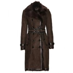 Burberry London Shearling-Lined Suede Coat (€1.600) ❤ liked on Polyvore featuring outerwear, coats, sport coat, shearling lined coat, suede sports coat, suede leather coat and brown sports coat