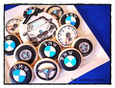 BMW cookies www.facebook.com/ycsweetscompany Car Cookies, Order Cookies, Cupcake Cookies, Car Cupcakes, Iced Sugar Cookies, Royal Icing Cookies, Fondant Flower Cake, Fondant Bow, Fondant Tutorial