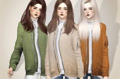 Sims 4 CC's - The Best: Colleen Bomber Jacket by bluebellsims // http://vaidososimmer.tumblr.com/