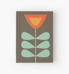 'Scandi Garden Minimalist Retro Mid-Century Modern Flowers in Celadon and Orange on Taupe Brown Solid' Hardcover Journal by kierkegaard - emperor. Mid Century Art, Mid Century Design, Scandi Garden, Modern Paint Colors, Retro Graphic Design, Embroidery Patterns, Folk Embroidery, Color Stories, Card Sketches