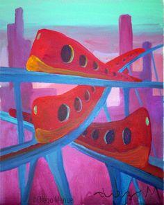 trenes, acrylic on canvas, 28 x 22 cm., year 2007. Venta de pinturas sobre trenes. Paintings of trains for sale. venda de pinturas de trens.