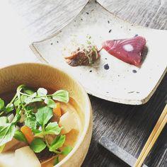 お出汁で煮た野菜を根菜と塩麹白胡麻油ミョウガも季節ね美味しいね  #rootvegetables #japanesefoods #simplicity #gocciso #fermented #酵素 #ステキな休日 #beautifulsaturday #cooking #発酵食品