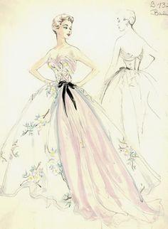 Balmain evening gown illustration, 1950s.