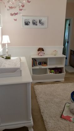 chair rail nursery. Exellent Nursery Baby Girl Room Conversion  ToyBook Storage Completion Girl Nursery   And Chair Rail Nursery D