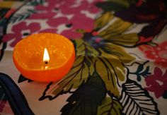 Candle from oil in the peel of a satsuma orange - bet it smells great for the holidays!