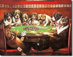 Collection of dogs playing poker prints