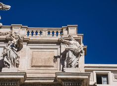 Old Statues at Top of Trevi Fountain Emperor Augustus, Thomas Merton, Trevi Fountain, Louvre, Baroque, Statues, Building, Inspirational, Art
