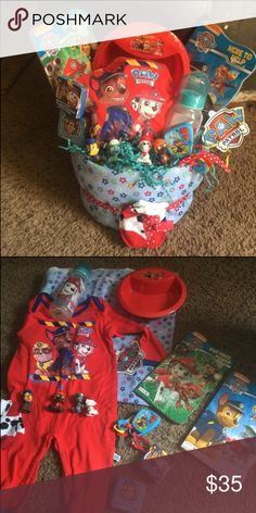 Paw patrol diaper cake Receiving blanket Paw patrol socks 4 paw patrol fiquire Paw patrol sleeper 3/6 months Paw patrol bottle 2 paw patrol books Paw patrol bowl Talking paw patrol keys 2 paw patrol wash cloths  Diapers Other