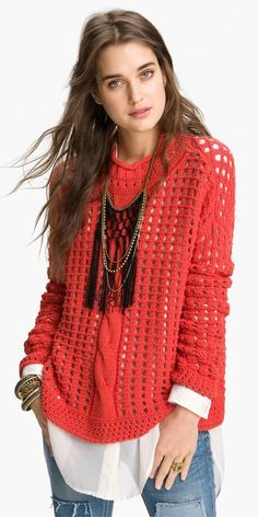 Free People. Love the sweater,  not so big on dress shirt underneath tho.