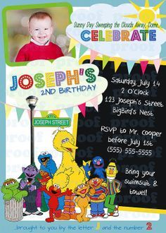 sesame+street+1st+birthday+outfits+for+boys | Sesame Street Birthday Invitation Printable BOY or by mistyprints. $7 ...