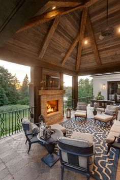 The outdoor porch features reclaimed wood ceiling and an outdoor fan. The outdoor fan is Heritage - Model: reclaimed-wood-ceiling Hendel Homes Outdoor Rooms, Outdoor Living, Outdoor Fans, Outdoor Patios, Rustic Outdoor, Outdoor Kitchens, Wood Home Decor, House In The Woods, Home Living Room