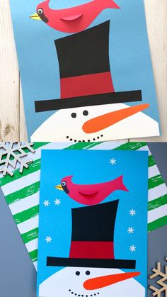 Easy winter craft for preschoolers, kindergartners and older kids. Use the snowman printable template to make this snowman and cardinal craft this January. #wintercraft #wintercraftforkids #wintercraftsforkids #snowmancraft #januarycraft #cardinalcraft #snowmantemplate #wintercraftforkidspreschool #winteractivity #birdcraftforkids #easywintercraft #wintercraftpreschool #snowmancraftpreschool #snowmancraftforkids #wintercraftforschool #januarycraftforkids #preschoolcraft #kindergartnecraft