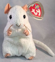 Check out Ty Beanie Baby White Mouse 2000 Cheezer Plush Toy Collectible  Excellent UC https  8064189f5eb8
