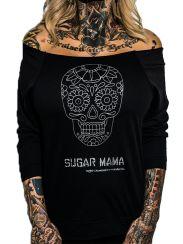 "Women's ""Sugar Mama"" Terry Raw Edge 3/4 Sleeve Raglan by Rudechix (Black)"