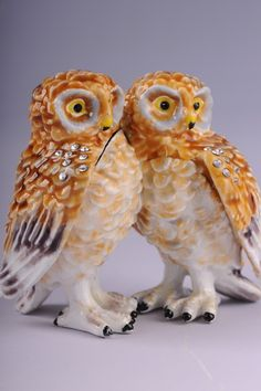Faberge 2 Owls trinket box by Keren Kopal Easter egg Swarovski Crystal Jewelry - Each item is made of pewter
