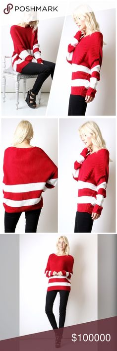 Arriving soon! Slouchy cozy sweater!! ❤️️ Tunic length - bold stripes - dolman sleeves- so adorable!! Sweaters