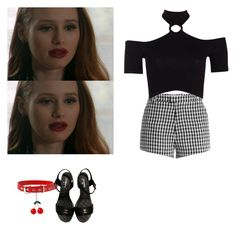 """""""Cheryl blossom outfit with flat/small heeled sandals - Riverdale"""" by shadyannon ❤ liked on Polyvore featuring Sandy Liang, Boohoo and Chanel"""