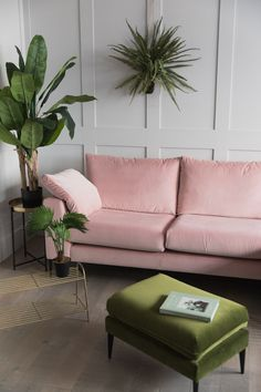 The focal point is the pink couch. The green plants and ottoman looking thing ad. The focal point is the pink couch. The green plants and ottoman looking thing add some visual hierarchy as well. Living Room Grey, Living Room Interior, Home Living Room, Living Room Designs, Corner Sofa Living Room, Pastel Living Room, Pink Living Rooms, Living Room Decor Green, Apartment Living Rooms