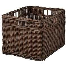 IKEA - BRANKIS, Basket, white, Storing your belongings in baskets makes it easier to be organized and find what you're looking for. This basket fits the HEMNES storage series and other furniture/storage furniture with shelves which are at least deep. Liatorp, Hemnes, Small Storage, Storage Boxes, Storage Baskets, Bath Storage, Ikea Storage, Storage Containers, Dark Brown