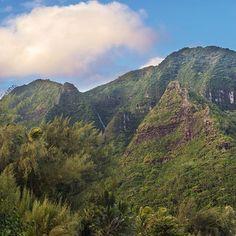 #Aloha, good morning. Spot the Falls. ❤ I rarely zoom in since I don't own a decent zoom lens anymore but the pink cloud over the #falls and #mountain warranted that I do so. . . . #kauai #haena #hawaii #aloha #mahalo #ohana #keiki #familytravel #family #love #nature