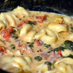 Crown Recipes: Crockpot Cheese Tortellini and Sausage... 1 (19 oz.) bag frozen cheese tortellini 1 lb. sausage (I prefer Italian) 1 bag fresh spinach 2 cans Italian style diced tomatoes 32 oz. low sodium chicken broth 1 (8 oz.) cream cheese(put in about 30 min prior to serving for melt time) This is super easy and amazing delicious!!! Will be a regular at our house. (♥H.T.)