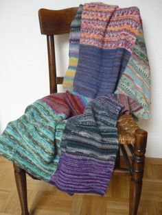 Decke stricken, Patchwork aus Sockenwolle, Reste
