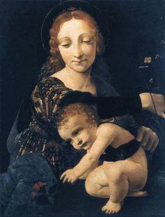Giovanni Antonio Boltraffio (Italian 1467–1516) [High Renaissance, Leonardeschi] Madonna with a Flower Vase. Museo Poldi Pezzol, Milan. Джованни Антонио Больтраффио. Мадонна с цветочной вазой. Милан. Museo Poldi Pezzol