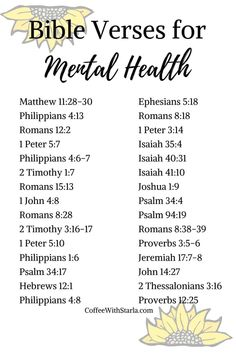 Bible Verses for Mental Health ~ Coffee With Starla Bible Study Plans, Bible Study Notebook, Bible Plan, Bible Study Tips, Scripture Reading, Scripture Study, Bible Verses Quotes, Good Bible Verses, Marriage Bible Verses