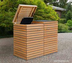 Edel + Modern - Garbage bin CUBUS for 120 + 240 liters - Vorgarten - Design Rattan Furniture Garbage Storage, Storage Bins, Bin Shed, Houston Houses, Bin Store, Outdoor Projects, Outdoor Decor, Garden Sofa, Trash Bins