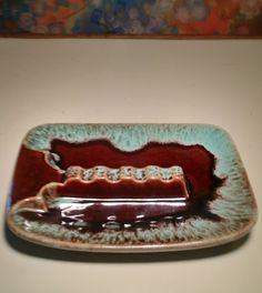 Large Ceramic Ashtray ~ Vintage 1970s Mid Century Modern Ashtray Brown/Chocolate with Aqua Sunburst ~ Enjoy FREE Shipping within the USA by modpodlove on Etsy