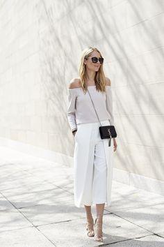 fashion-jackson-white-culottes-mgemi-marea-lace-up-heels-off-the-shoulder-top-prada-retro-sunglasses-saint-laurent-monogram-crossbody @clubmonaco @mgemi #lovemgemi